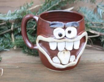 NEW Holly Jolly Christmas Mug. Festive Holiday Coffee Cup. Fun Christmas Grinch Gifts. Large 16 Ounce Big Handmade Pottery Face Mug.