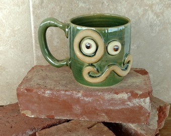 Big Coffee Mug. Ug Chug Face Mug. Monocle Man's Mustache Mug. Beer Mug.  Large 14 Ounces. Forest Green. Microwave Safe Dishwasher Safe Cup.
