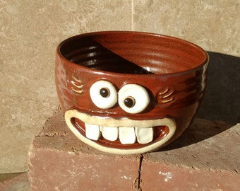 Woman's Cereal Bowl Red Handmade Stoneware Pottery Soup Bowls. Womans Funny Face Breakfast Morning Cereal. Microwave Dishwasher Safe.