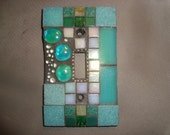 MOSAIC Light Switch Plate -  Single Switch, Wall Art, Wall Plate, Aqua, Green, Iridescent White, Silver