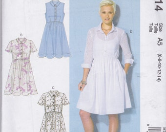 McCall's Pattern M7314 Pullover Shirtwaist Dress With Raised Waistline, Button Front, In Seam Pockets, Sleeve Variations Misses' Sz 6 - 14