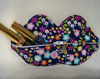 Zippy Lips in Flower Drift in Midnite - Makeup Pouch - Coin Purse - Lipstick Pouch - Ready To Ship