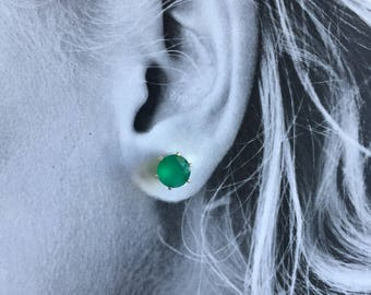 Green Onyx 8mm 3ctw Sterling Silver Studs