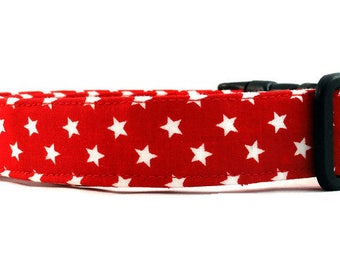 Awesome White Stars on Red Dog Collar Patriotic