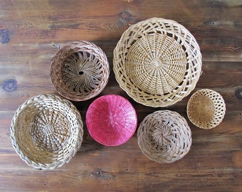 Vintage Basket Wall Collection Set of 6 Wall Decor