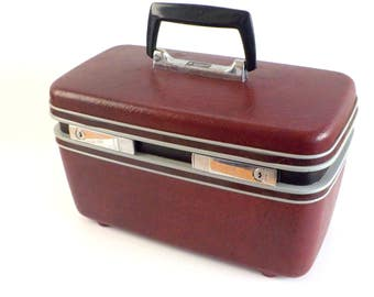 Vintage Samsonite Train Case • Maroon Suitcase Traincase