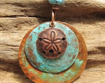 Blue Copper Pendant Patina Copper Jewelry Medallion Lampwork Bead