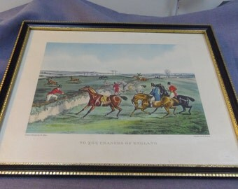 Vintage Framed Print, To the Craners of England, H. Alken, Aquatint by E. Duncan 1950s