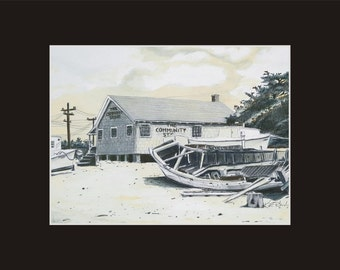 11x14 Community Store Matted and signed Print 1950s rendering Ocracoke North Carolina