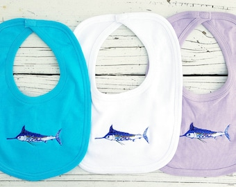 Blue Marlin Embroidered Bibs available in blue white lavender velcro