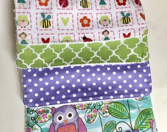 Handmade set of 4   Cotton fabric   Baby burp cloths   Girl things  Owl   Purple & Green Quatrefoil   Hearts Dots Ready to ship!
