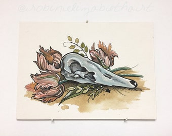 Swan Skull - Watercolor Tattoo Illustration - Bird Skull - Flowers - Tulips - Leaves - Painting - Art