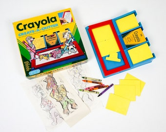 Vintage 1990s Toy / Crayola Create-A-Critter Activity Set 1991 / Mix Match Rubbing Plates To Create Many Crazy Characters
