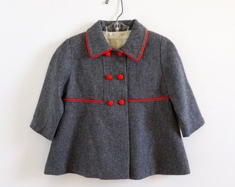 Vintage 1960s Girls Size 3 Coat VGC / Thin Grey Wool, Lined, Double Breasted, A-Line