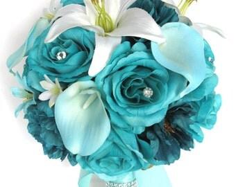 "Wedding Bouquet 17 Piece Package Bridal Silk flower Bouquets TURQUOISE AQUA TEAL Calla Lily Wedding decoration Centerpiece ""RosesandDreams"""