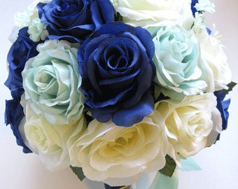 Reserved listing Wedding Bouquet Bridal Silk flower Decoration 32 pieces Package NAVY BLUE RED Ivory centerpieces RosesandDreams
