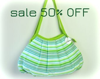 SALE 50% OFF - Shoulder Bag - Granny Style Lime Stripes - Zipper Closure