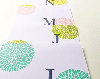 Stamped Initial Stationery. Stamped Letter Notecards. Personalized Gifts for Women. Hand Stamped Monogram Card Set. Custom Colorful Notes