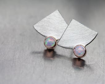 Geometric Opal Silver 14K Rose Gold Stud Earrings Modern Multicolored Quarter Circle White Blue Red Green October Birthstone - Fecherchen