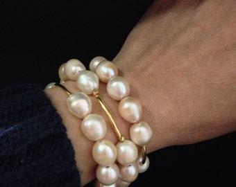 SET - Light Peach Potato Freshwater Pearls Stretch Bracelets in Gold Vermeil Tubes; Gold Peach Pearl Bracelet; Pearl Jewelry; Pearl Bracelet