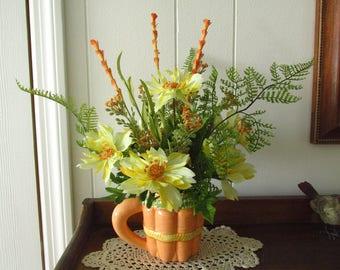 Spring Floral / Summer Floral / Yellow Orange Floral / Floral Arrangement In Carrot Mug / Tabletop Floral / Kitchen Floral / Garden Floral