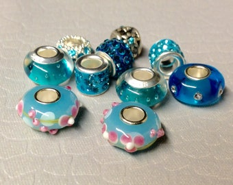 European style Turquoise colored Rhinestone Bling beads plus other large holed beads lot of TEN Mix and Match add to bracelet (NOT INCLUDED)