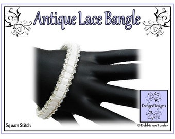 Tila Beading Pattern, Tutorial, Bangle - ANTIQUE LACE