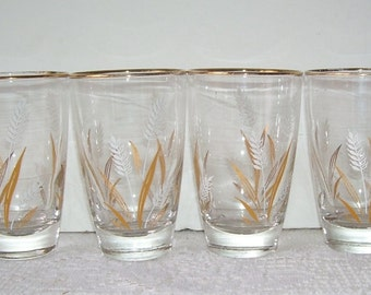 4 Vintage Libbey Golden Wheat Glasses, 8 Oz's , Party Glasses, Mid-Century Glasses, Gold and White Beverage Glasses, Rustic Kitchen