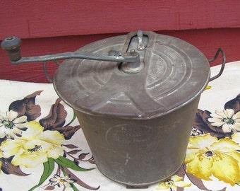 Antique Universal Bread Maker Metal Bucket, Primitive Bread Mixing Pail, Crank Top for Flour Mixing, Farm House Rustic, Primitive decor