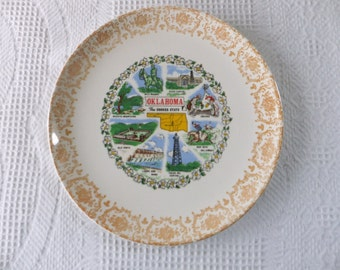 Vintage Oklahoma Souvenir State Plate with Yellow Filigree Border Decorative Collector Travel Vacation Retro Wall Decor