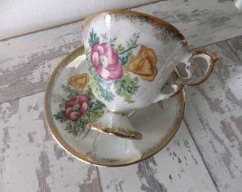 Vintage Tea Cup and Saucer August Poppy Pedestal Footed Sterling China Japan Pearlized Iridescent Bone China 13915