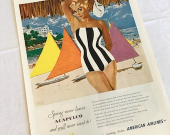 Acapulco ad, bathing beauty, 1952 magazine, travel advertizement, riverea, american airlines, black and white stripe bikini, blonde pin up