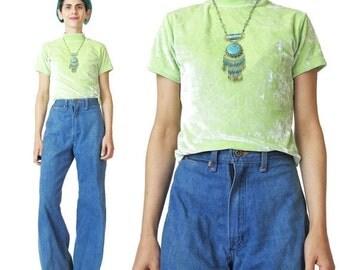 1990s Velvet Tshirt Lime Green Velvet Top Turtleneck Top Neon Stretchy Crushed Velvet Tshirt Short Sleeve Top Mock Neck Tee (S/M/L)