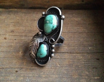 Vintage 16g size 8 turquiose shadowbox long ring with sterling silver leaf, Southwest turquoise silver ring, Old Pawn jewelry, Navajo ring