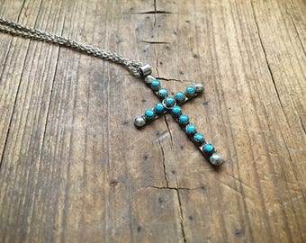 Vintage cross pendant and chain sterling silver turquoise snake eye setting, Native American Indian jewelry, Zuni necklace, turquoise cross