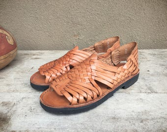 Vintage Mexican huarache sandals Women's Size 9.5, tanned leather Brand X Mexican sandals, boho hippie woven sandals slip on sling back