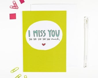 I Miss You Card Bright Lime Green Just Because Friendship Card