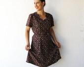 MOVING SALE Vintage Brown Floral Dress / 40s Style Dress / Size L
