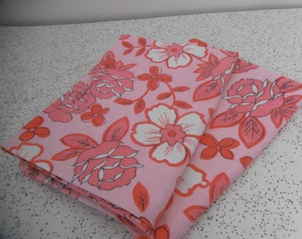 pretty in pink and red...pair of vintage cotton pillowcases