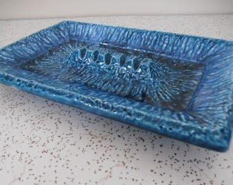 deep blue sea...vintage ceramic ashtray with sea blue glaze