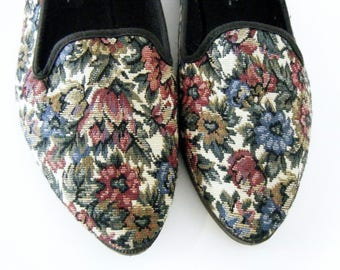 80s / 90s FLORAL TAPESTRY Smoking Slippers FLATS,size 10