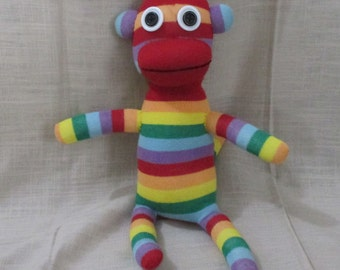 Clearance  Handmade Colorful Striped Sock Monkey Stuffed Animal Doll Baby Toys