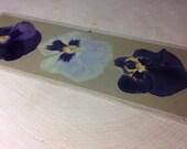 Pressed flowers laminated bookmark - 3 pansies