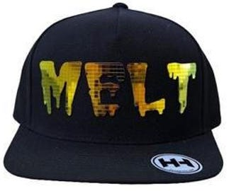 Melt Flat Brim Hat in Navy Blue, Red, or Grey with Super Reflective Writing and Snap Back Fit