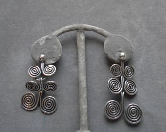Dramatic Vintage Sterling Earrings - Mexico