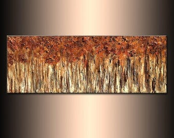 Contemporary Textured Metallic landscape Abstract Trees Painting Palette knife Modern Art By Henry Parsinia