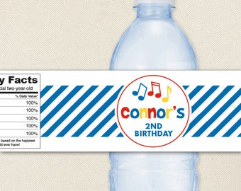 Music Party - 100% waterproof personalized water bottle labels