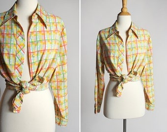 Vintage Vibrant Pastel Buttom Up Blouse- Yellow Green Plaid Top Shirt Long Sleeve Blouse Boyfriend Oxford Summer Country- Size Large