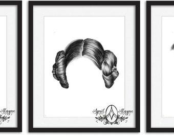 Star Wars - 1 bun- 2 bun- 3 Buns- Hair - portrait- trio- set- Aprilalayne- geek art