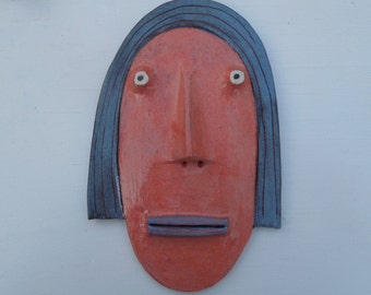 Mini Flathead Wall piece with blue hair, pink face